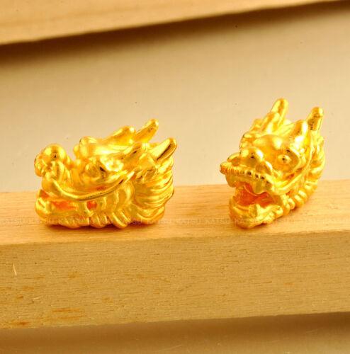 Nouveau 24K Or Jaune Pendentif//3D Belle tête de dragon PERLE PENDENTIF//1.08 g 1pcs
