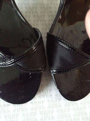 New Look Negro Patente y satén correa de tobillo Tamaño del zapato 5