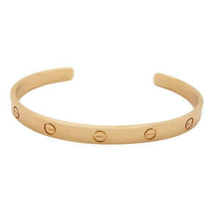 85665b07a9b4b Details about Cartier Love 18k Rose Gold Cuff Bangle Size 20