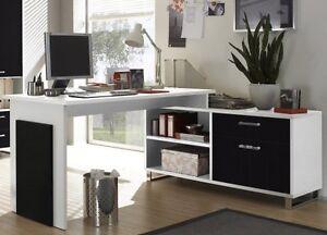 schreibtisch computertisch kombitisch winkeltisch ecktisch weiss schwarz neu ebay. Black Bedroom Furniture Sets. Home Design Ideas