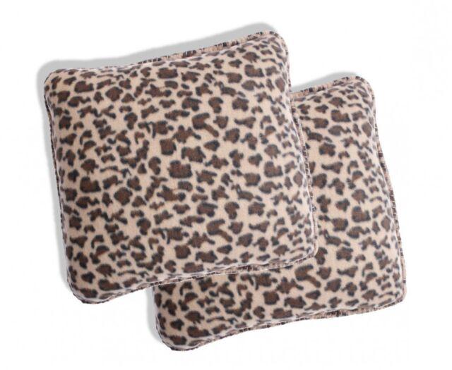 2x Leopard Plüsch Fleece Kissenhüllen Kissenbezug Kissen Bezug 40x40