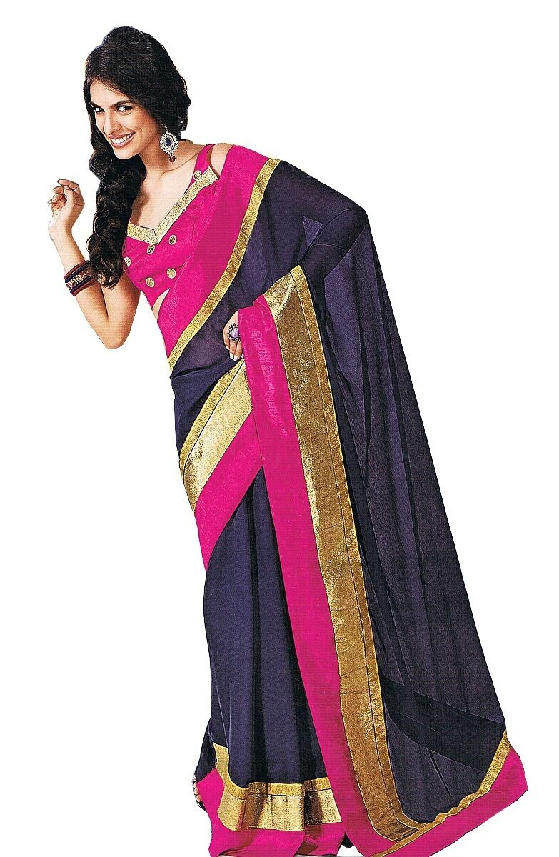 Beautiful Party Evening Dress bluee Saree Women Fashion Clothing Attire Sari