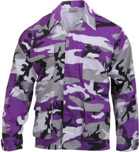 Image is loading Mens-Purple-Camouflage-Military-BDU-Shirt-Tactical-Uniform- b14e19b25