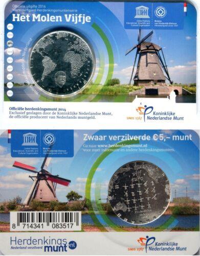 """NETHERLANDS 5 EURO 2015 UNC /""""Het Molen vijfje/"""" in Coincard"""