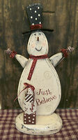 Primitive Country Standing Snowan Wood Christmas Just Believe Snowman