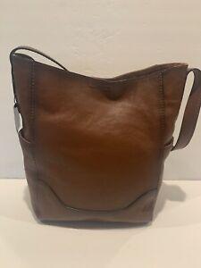 Frye Side Pocket Leather Hobo Shoulder Bag Cognac Brown MSRP $348