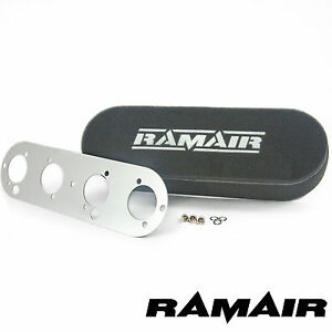 RAMAIR-Twin-Carb-Air-Filters-amp-Baseplate-Vauxhall-2-0-16v-Weber-DCOE-80mm