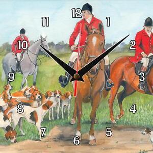 No-127-Hunt-Meet-Sue-Podbery-Wall-clock-handmade-gift-present-dogs-and-horses