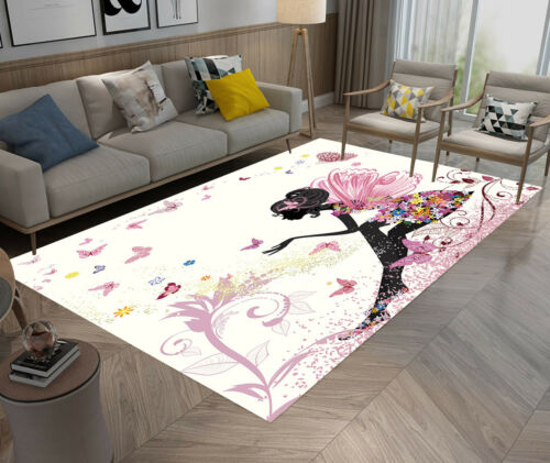 Beauty Black Girl Butterfly Angel Area Rugs Bedroom Living Room Floor Mat Rug