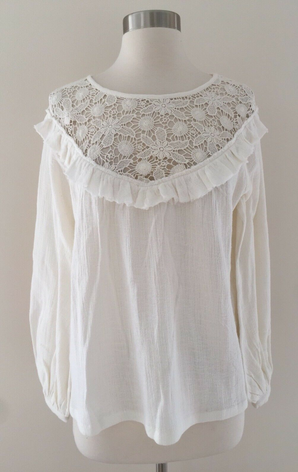 New Madewell sézane maggy ruffled top blouse Ivory Größe 38 M 6 H1216