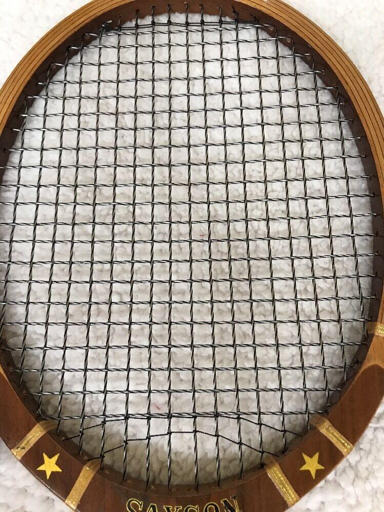 Vintage Samson Star Tennis Racquet Wood 4 5/8 With Wood Racquet Keeper ((Japan) 1e1d1e