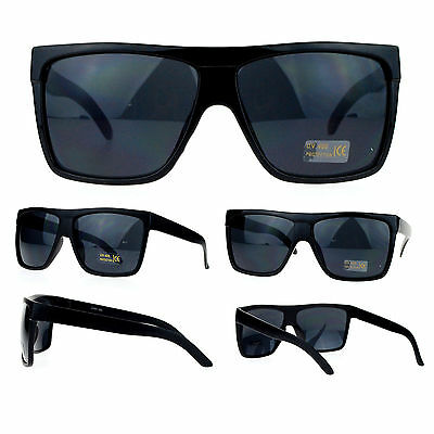 3b41aadddeed Details about SA106 Limo All Black Flat Top Oversize Gangster Rectangular  Shade Sunglasses