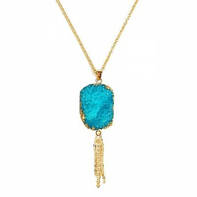 Fashion Women Natural vintage Turquoise Stone Gold Tassel Long elegant Necklace