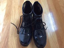 New SOREL  Lace Mesh ankle bootie Black Patent Ankle Leather Boots Sz 10,5