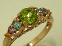 R173- Genuine 9ct Pink / Rose Gold Natural Multi-gem Peridot Eternity Ring Sz P