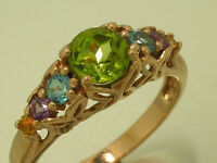 R173- Genuine 9ct Pink / Rose Gold Natural Multi-gem Peridot Eternity Ring Sz P