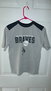 ATLANTA BRAVES BOY S SIZE 10 12 GRAY BLUE BASEBALL SS SHIRT EUC  a2d54f8f1