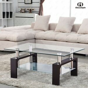 Living Room Furniture Walnut Wood rectangular glass coffee table shelf chrome walnut wood living