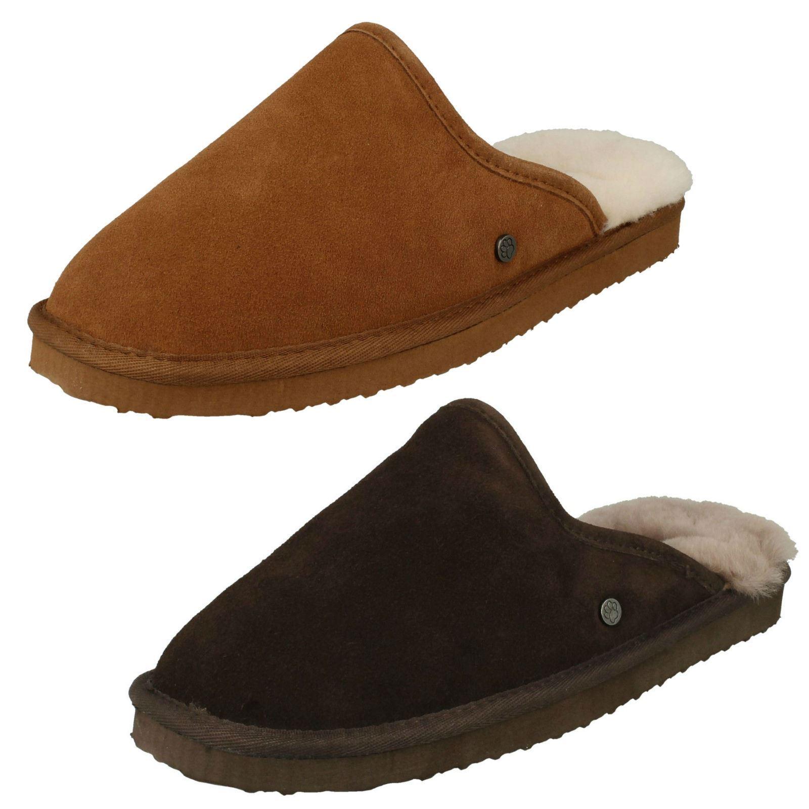 Mens Padders Genuine Sheepskin Lined Slip On 100% Leather Mule Slippers Nevis