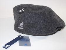 NWT KANGOL Men's Charcoal Gray 100% Pure New Wool Logo Driving Cap Small