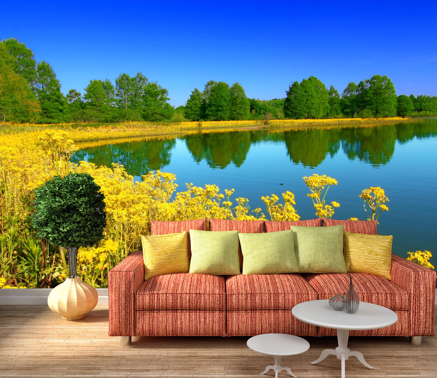 3D lake flower Gelb Wall Paper Print Decal Wall Deco Indoor wall Mural
