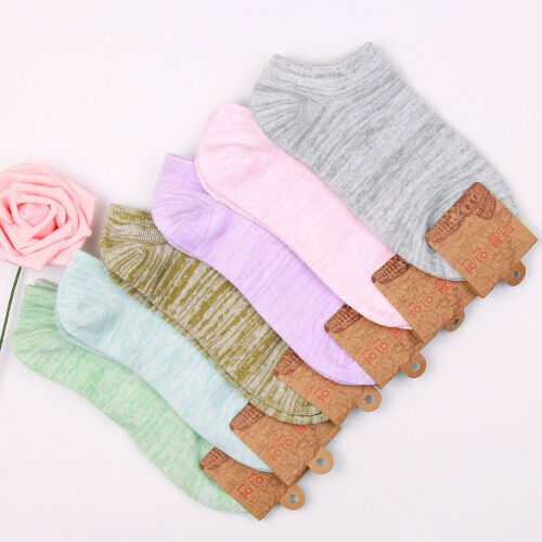5 Pairs Girls Womens Cotton Socks Lot Fashion Mixcolor Casual Ankle Socks 6-8