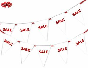 SALE-White-Bunting-Banner-15-flags-For-any-shop-retail-sale-and-commercial-site