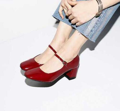 Women Patent Leather Retro Mary Jane Square Toe Shoes Med Block Heels Pumps Chic