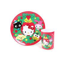 Sanrio Hello Kitty Christmas Holiday Season Character Melamine Plate & Cup Set