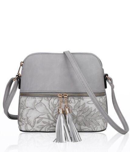 New Women/'s Girls Floral Patterned /& Tassel Detail Messenger Bag Cross Body Bag