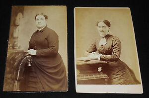 2-PC-LOT-ANTIQUE-CABINET-PHOTOS-FORMIDABLE-NO-NONSENSE-LADIES-1880-90s