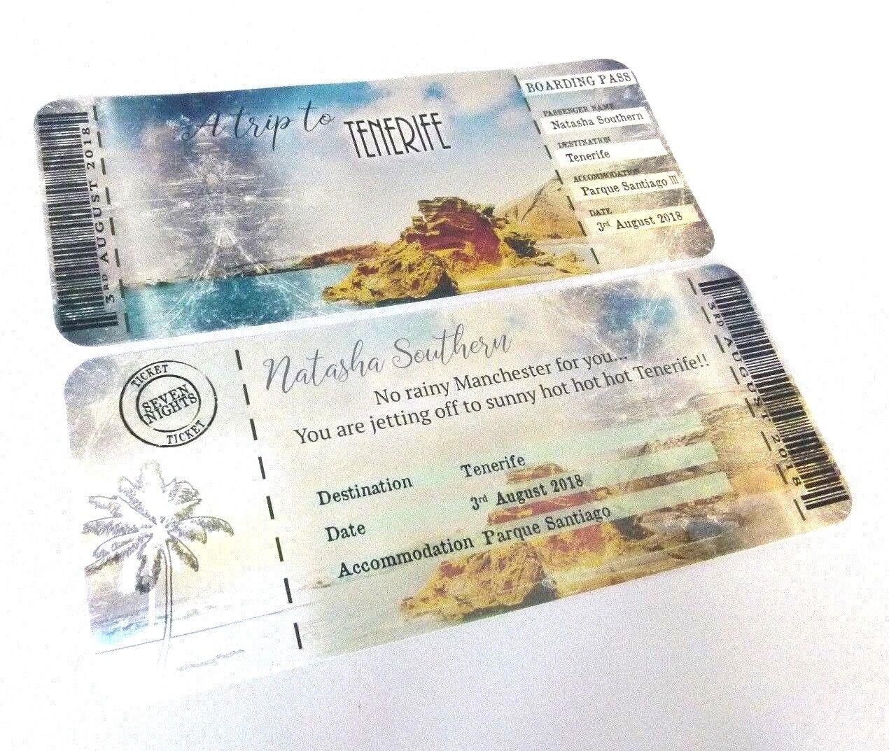 Beach Holiday Wedding Boarding Pass Pass Pass Invitation e16333