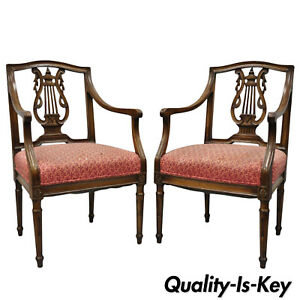 Pair Of Antique Louis Xvi French Style Lyre Back Chairs Italian