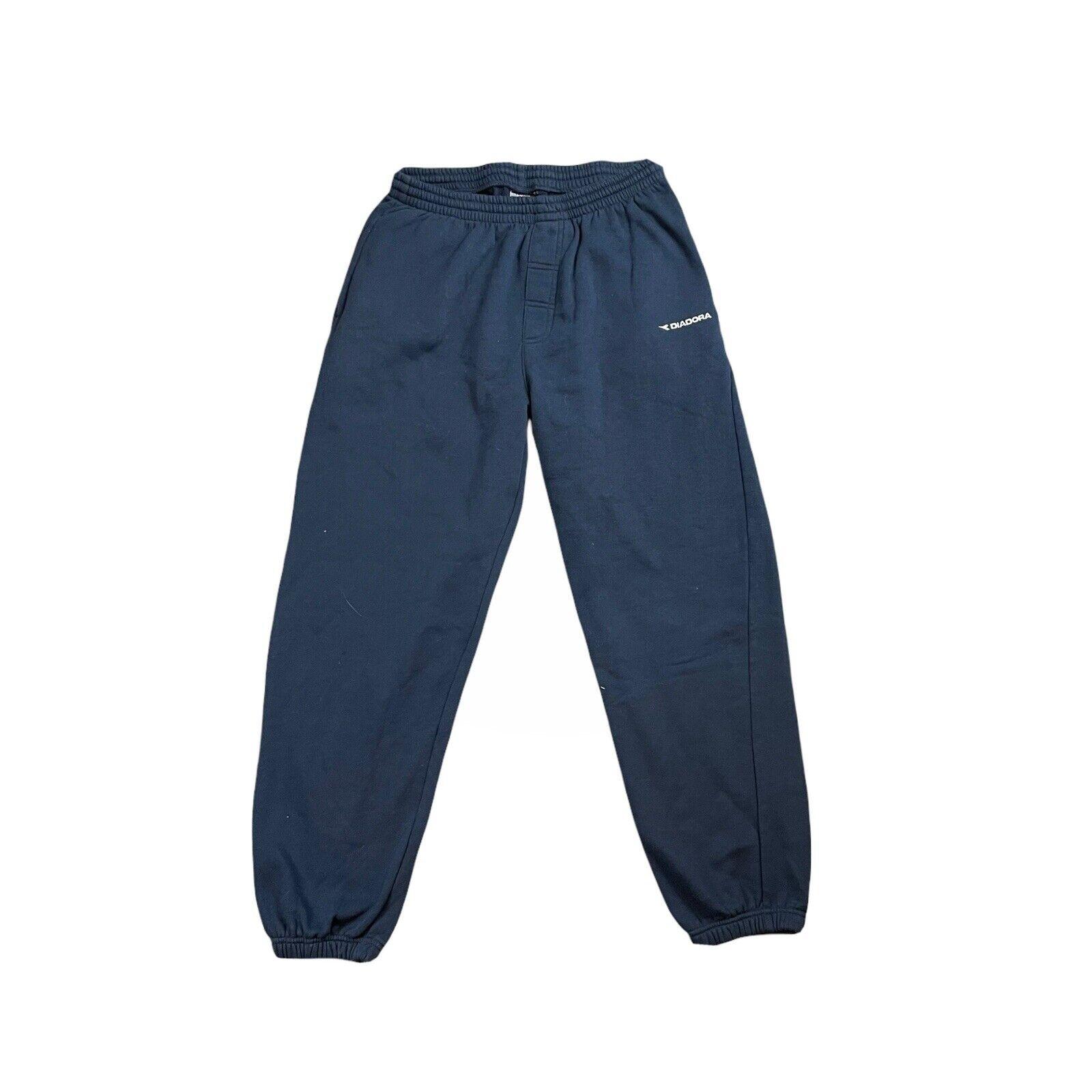 Diadora Blue White Embroidered Jogging Bottoms Sweatpants Size Mens XL
