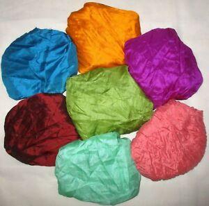 CA LOT PURE SILK Vintage Sari REMNANT Fabric 7 Pcs 1 ft Blue Cream #ABCY1