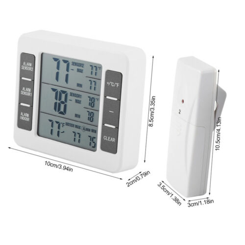 Funk Digital Kühlschrank Thermometer Gefrierschrank Temperatur 2 Sensor Alarm