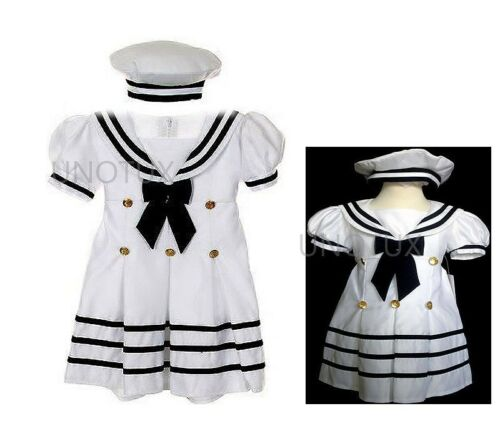 Baby Girl /& Toddler Formal Nautical Sailor Party Dress White S M L XL 2T 3T 4T