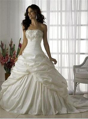 Hot Sell Weiß/Elfenbein Brautkleid/Hochzeitskleid Taft Größe:32 34 36 38 40 42