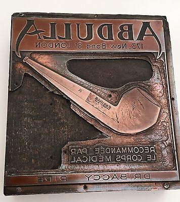 RARISSIME 2 Clichés Publicitaires En cuivre ABDULLA  plus Décor de 6 Briquets