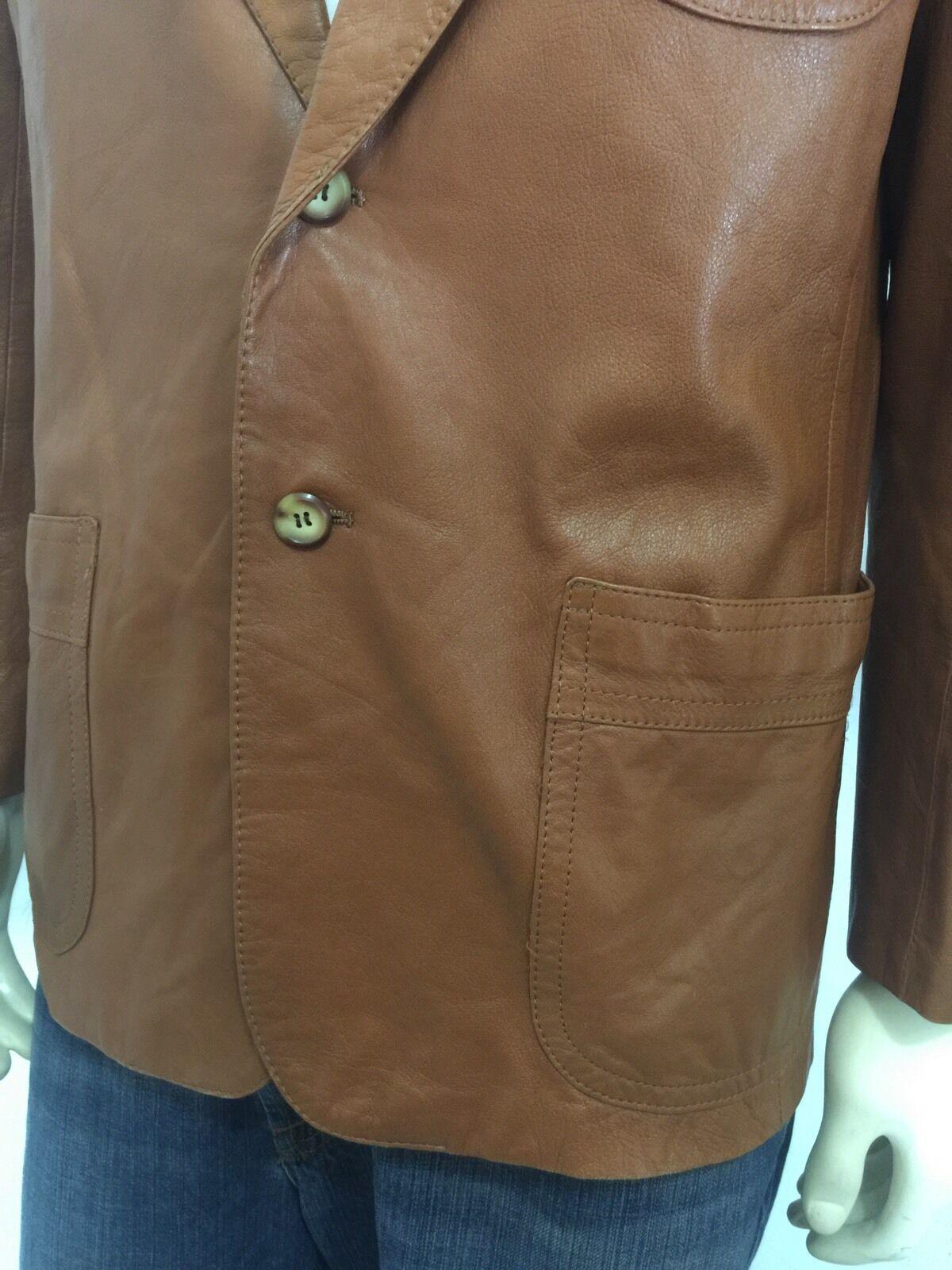 Vintage 1970's Mens Brown Hipster Soft Leather Bl… - image 5