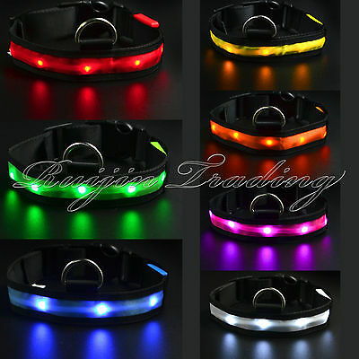 Adjustable LED Light Flashing Glow Luminous Pet Dog Safety Collar Night Nylon