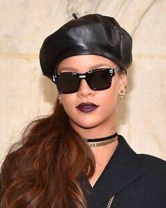 Quality Black Leather Beret Ladies Womens Fashion Hat  Rhianna  Gigi ... a0ab05597e8