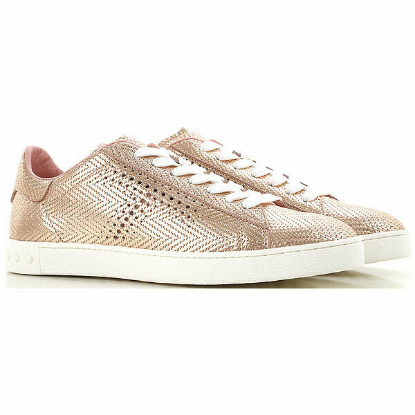 NEW Tod's Leather Lace Up Sneaker Lt Apricot gold Metallic IT 39 US 9   525 2019