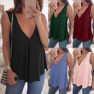 484f260a1e1751 Women Plus Size Casual V Neck Tank Tops Loose Sleeveless T-Shirt ...