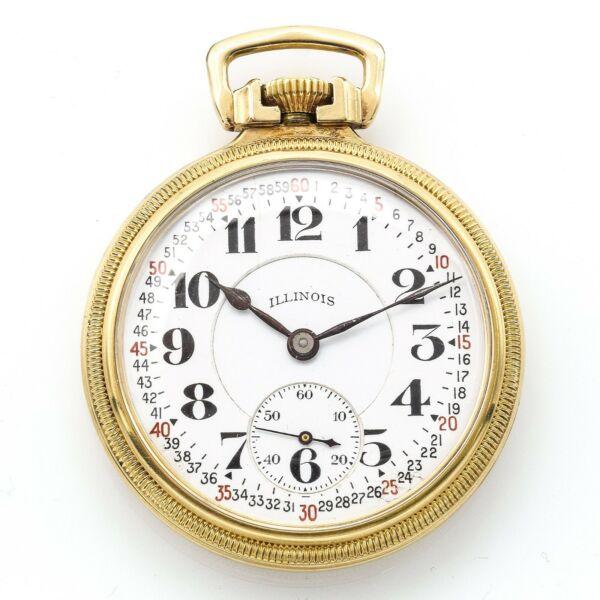 1919 Illinois Bunn Spezial 60 Stunde Taschenuhr 23 Jewels 10k Gold Gefüllt 6 Pos