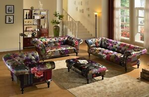 Image Is Loading Anna Scroll Chesterfield Luxury Fabric Patchwork Sofa Suite