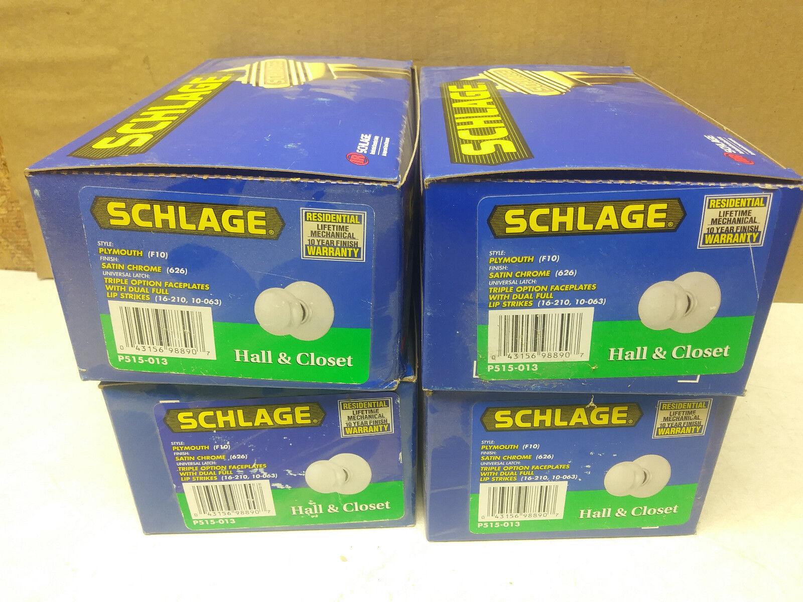 Schlage doorknobs (4) Hall & Closet/Passage, 'Plymouth' F10 Satin Chrome 626