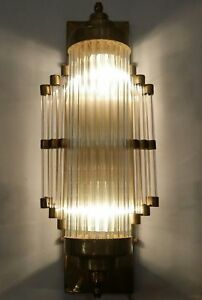 Ancien-Old-Art-Deco-Skyscraper-Brass-amp-Glass-Rod-Lumiere-Appliques-murale-Lampe