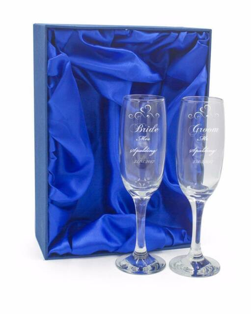 Personalised Engraved Champagne Flutes X 2 Wedding Day Bride And Groom Dcf 1