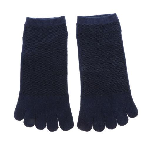 1pair Breathable Ankle Socks Sports Five Finger Toe Shoes Black Mesh Socks